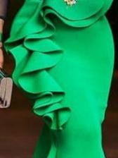 Irregular Ruffled Fishtail Maxi Skirt