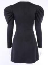 Hot Sale v Neck Long Sleeve Black Dress