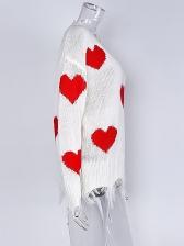 Loose V Neck Heart Patchwork Knit Pullover For Women