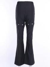 Button Decor Zipper Up Wide Leg Pants