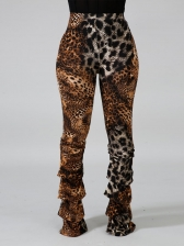 Contrast Color Leopard Print Ruched High Waisted Pants