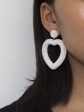 Simple Design Heart Beaded Earrings