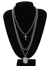 Creative Cross Geometric Layered Necklace