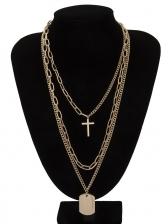 Simple Design Cross Geometric Layered Necklace