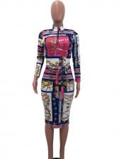 Retro Contrast Color Printed Tie-Wrap 2 Piece Skirt Set