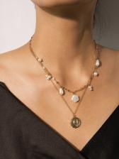 Vintage Areembossed Pendant Irregular Golden Chain Necklace