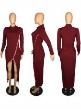 Buttons Up Split Hem Solid Long Sleeve Maxi Dress