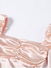 Square Neck Lantern Sleeve Pink Bodycon Dress