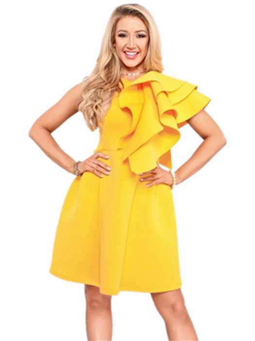 Ruffled Pure Color Sleeveless Summer Dresses