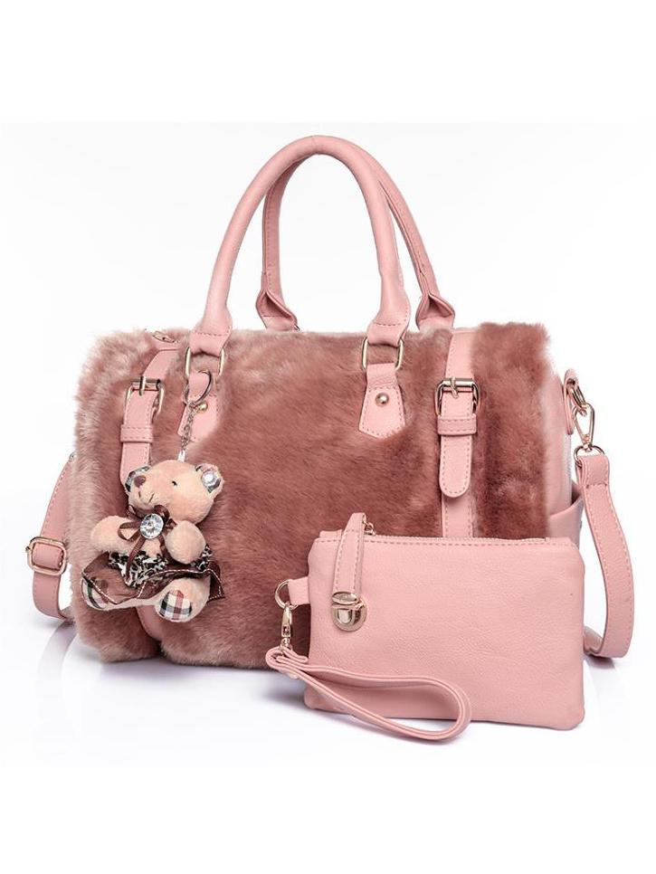 Plush Patchwork Pu Bear Pendant Pink Travel Handbags