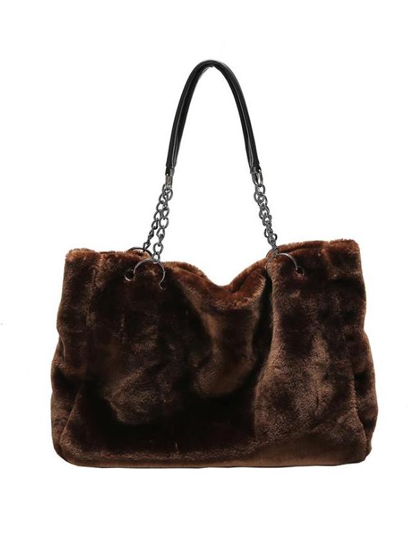 Solid Color Soft Plush Chain Shoulder Bag For Shopping