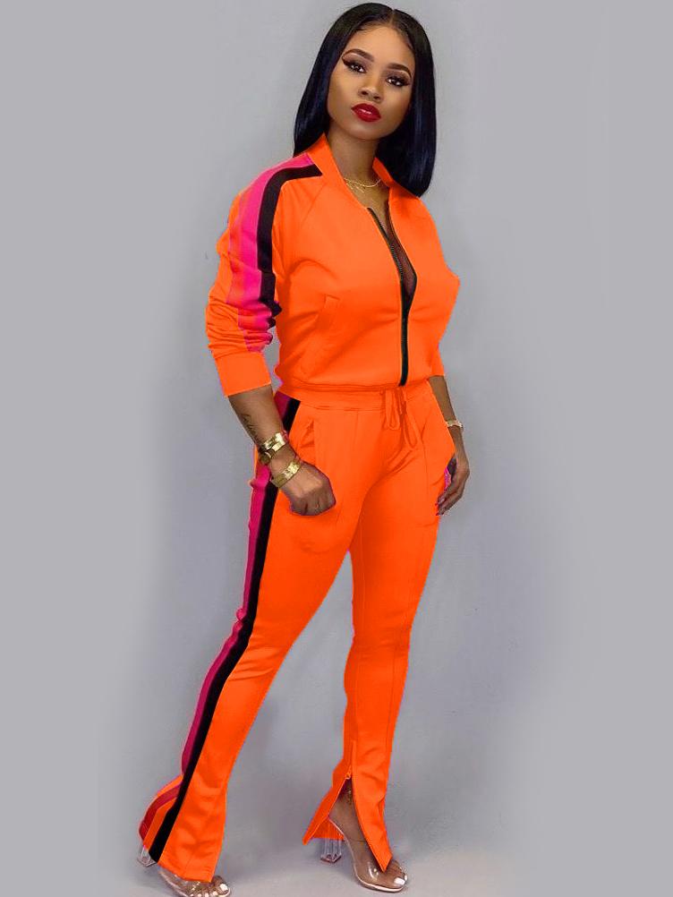 Sporty Contrast Color Long Sleeve 2 Piece Pants Set
