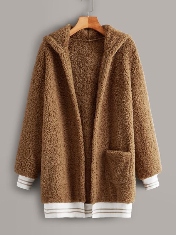 Fleece Hooded Long Sleeve Long Coat