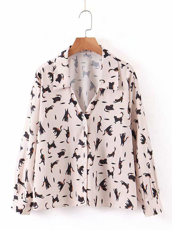 Turndown Collar Printed Long Sleeve Ladies Blouse