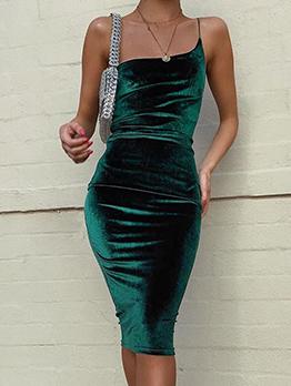 Single Spaghetti Strap Backless Bodycon Dress