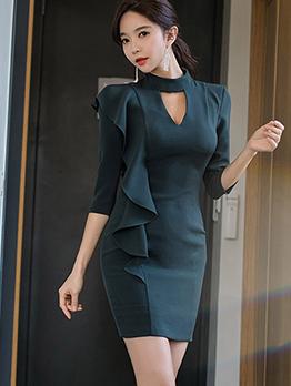 Elegant Ruffle Hem Long Sleeve Bodycon Dress