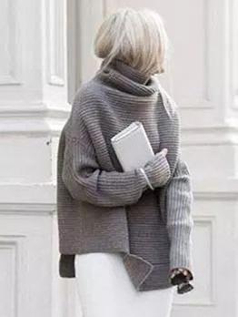 Casual Solid Irregular Hem Turtleneck Sweater