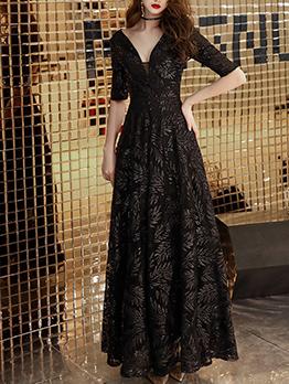 Elegant Deep v Half Sleeve Women Evening Dresses