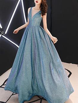 Gauze Patchwork Glitter Evening Maxi Dresses
