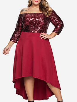 Irregular Hem Sequined Off Shoulder Plus Size Dress