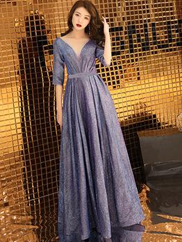 Elegant Short Sleeve Gauze Glitter Evening Maxi Dresses