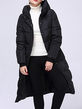 Boutique Solid Color Hooded Long Puffer Coat
