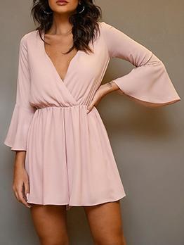 Long Sleeve Elastic Waist Chiffon Dress