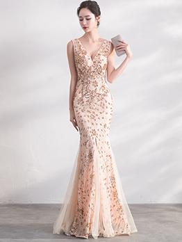Embroidery Fishtail Sleeveless Maxi Dress