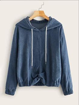 Leisure Solid Color Long Sleeve Pullover Hoodie