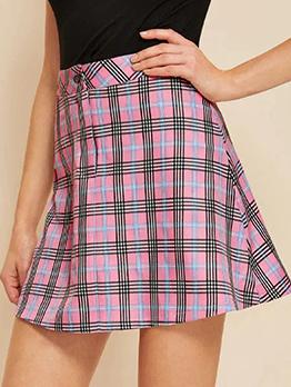 Sweet High Waist A Line Plaid Skirt