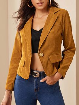OL Style Long Sleeve Corduroy Casual Blazer