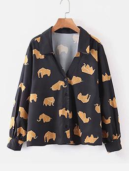 Casual Printed Long Sleeve Ladies Blouse