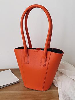 Minimalist Solid High Handle Large Capacity Bucket Bags