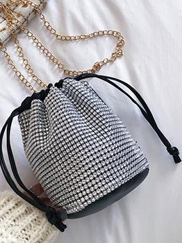 Shiny Diamonds Drawstring Design Bucket Bags With Chain