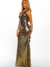 Boutique Backless Keyhole Sequin Evening Dress