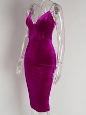 Velvet Backless Spaghetti Strap Solid Midi Dress
