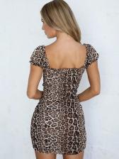 Short Sleeve Drawstring Leopard Printed Dress