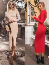 Split Pure Color Long Sleeve Bodycon Dress