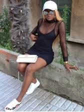 Gauze Black Sexy Two Piece Dress