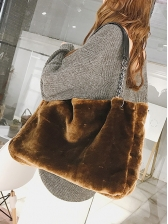 Solid Color Soft Plush Chain Shoulder Bag For Shopping