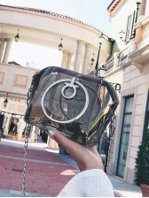 Candy Color Round Handle Transparent Chain Shoulder Bags