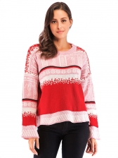Sweet Contrast Color Long Sleeve Knit Sweater