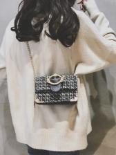 Multilayer Tweed Patchwork Women Chain Shoulder Bag