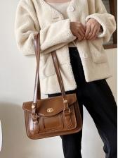 Simple Spin Lock Solid Color Pu Large Shoulder Bag