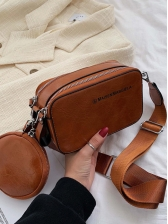Double Zipper Rectangle Shoulder Bag With Round Mini Wallet