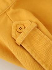 Stand Collar Pocket Long Sleeve Yellow Jacket