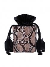 Trendy Drawstring Design Snake Print Wide Belt Bucket Bags