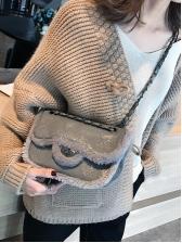 Plush Edge Thread Rhombus Spin Lock Chain Shoulder Bag