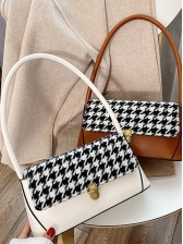 Rectangle Houndstooth Pattern Metal Hasp Shoulder Bags