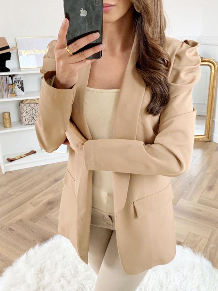 Ol Style Solid Ruched Ladies Blazer